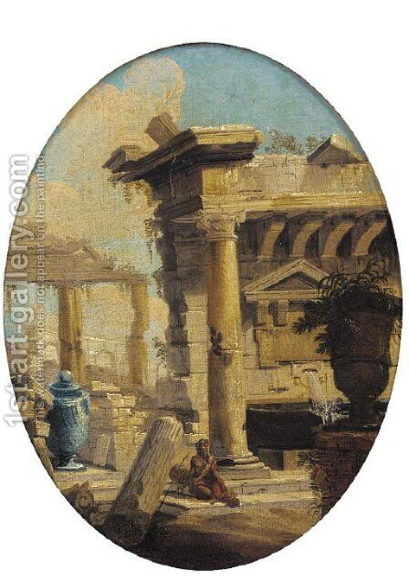 A capriccio of classical ruins with a figure in the foreground by (after) Giovanni Paolo Panini - Reproduction Oil Painting