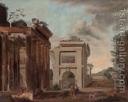 A capriccio of classical ruins with figures conversing 2 by (after) Giovanni Paolo Panini - Reproduction Oil Painting