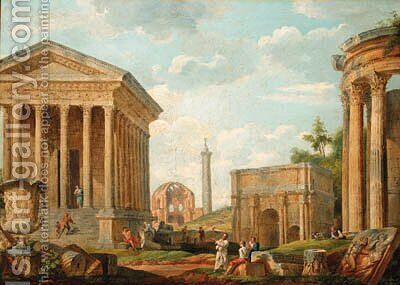 A capriccio of the Maison Care at Nmes by (after) Giovanni Paolo Panini - Reproduction Oil Painting