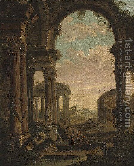 An architectural capriccio with figures amongst classical ruins, the Pantheon beyond by (after) Giovanni Paolo Panini - Reproduction Oil Painting