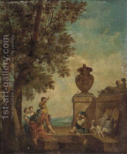 Figures conversing on a terrace with classical statuary by (after) Giovanni Paolo Panini - Reproduction Oil Painting