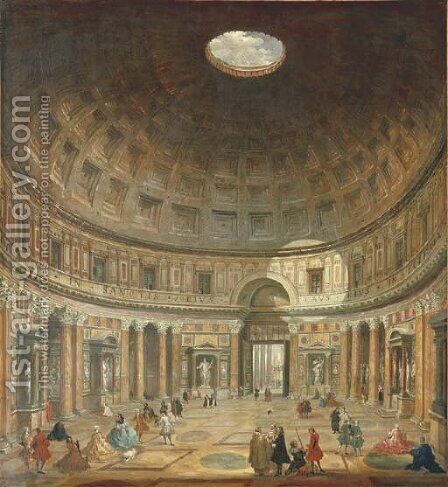 The interior of the Pantheon, Rome, looking north from the main altar towards the entrance by (after) Giovanni Paolo Panini - Reproduction Oil Painting