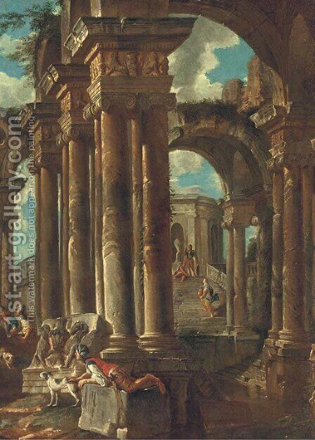 A capriccio of Roman ruins with soldiers and other figures by (after) Giovanni Paolo Panini - Reproduction Oil Painting
