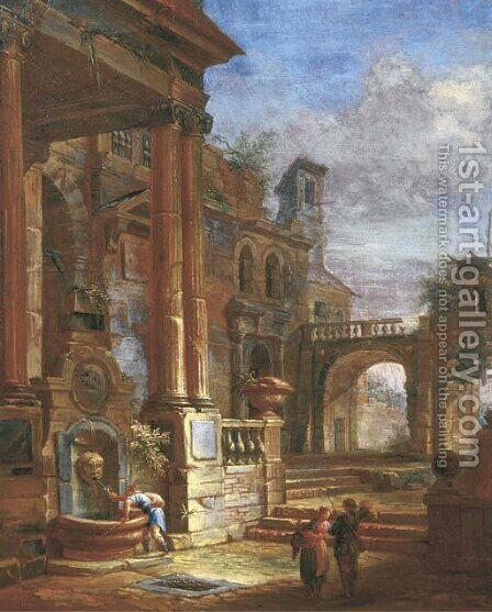 An architectural capriccio with figures by a fountain in a square by (after) Giovanni Paolo Panini - Reproduction Oil Painting