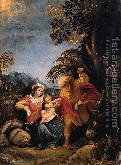 The Rest on the Flight into Egypt by (after) Giuseppe (d'Arpino) Cesari (Cavaliere) - Reproduction Oil Painting