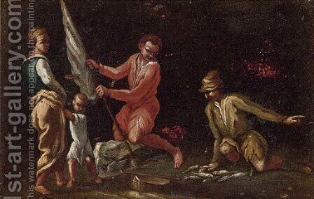 Fisherman with their catch by (after) Giuseppe Maria Crespi - Reproduction Oil Painting