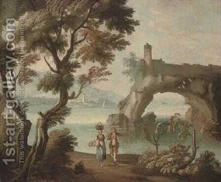 A Mediterranean coastal inlet with travellers in the foreground and a fortification beyond by (after) Giuseppe Zais - Reproduction Oil Painting