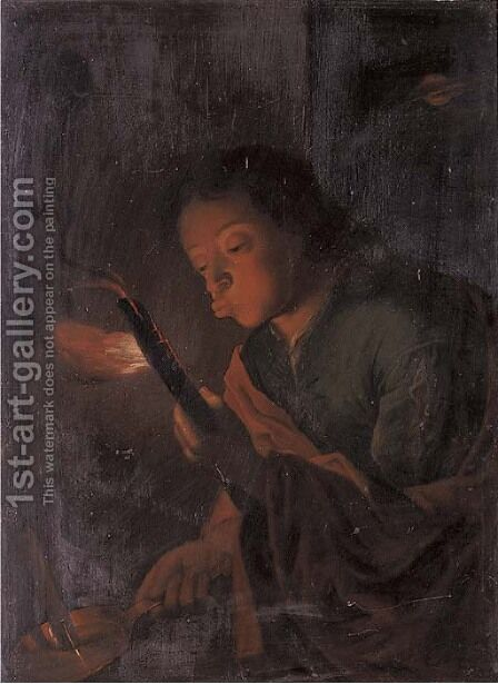 A boy holding a candle and blowing at an ember by (after) Godfried Schalcken - Reproduction Oil Painting