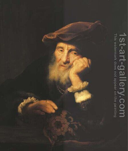 A bearded old man by (after) Govert Teunisz. Flinck - Reproduction Oil Painting
