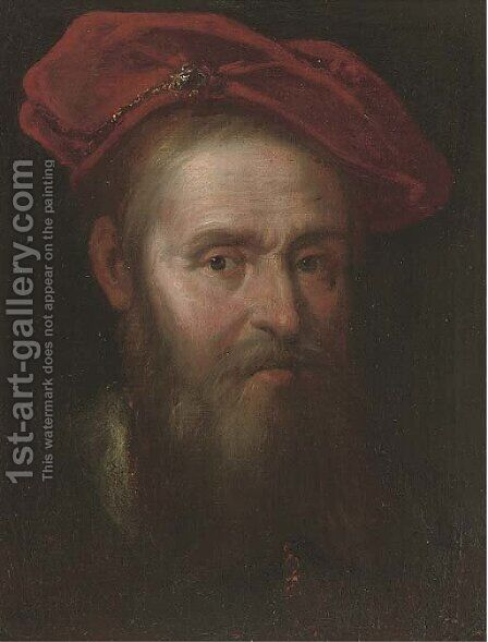 Portrait of a man, bust-length, in a cap by (after) Govert Teunisz. Flinck - Reproduction Oil Painting