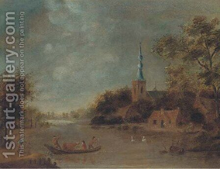 A landscape with drovers crossing a river by boat, a church beyond by (after) Govert Dircksz. Camphuysen - Reproduction Oil Painting