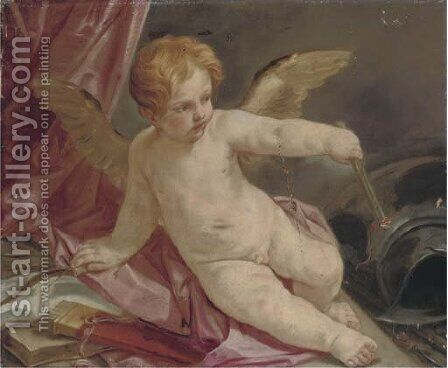 An Allegory of Love triumphant over War Cupid reclining on a couch with a torch, armour beside him by (after) Guido Reni - Reproduction Oil Painting