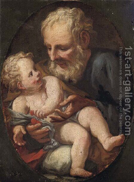Saint Joseph with the Infant Christ by (after) Guido Reni - Reproduction Oil Painting