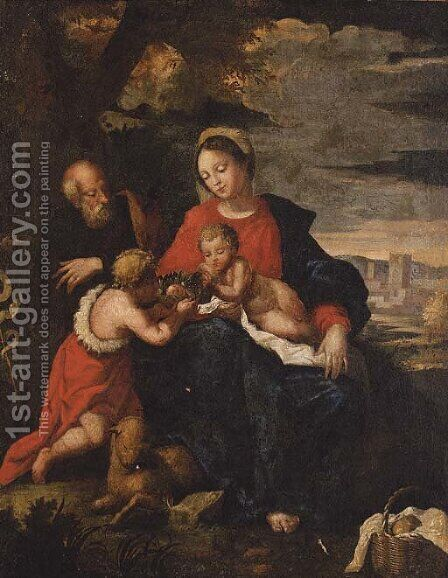 The Holy Family with the Infant Saint John the Baptist by (after) Guilio Cesare Procaccini - Reproduction Oil Painting