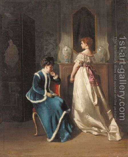 The Visitor by (after) Gustave Jean Jacquet - Reproduction Oil Painting