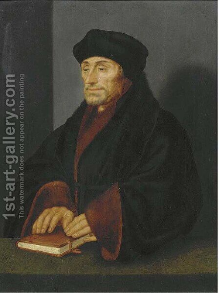 Portrait of Erasmus, small half-length, his hands resting on a book on a table by (after) Holbein the Younger, Hans - Reproduction Oil Painting