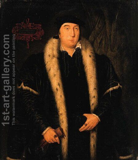 Portrait of a Gentleman, small three-quarter-length, in a black ermine- lined mantle, holding gloves in his right hand by (after) Holbein the Younger, Hans - Reproduction Oil Painting