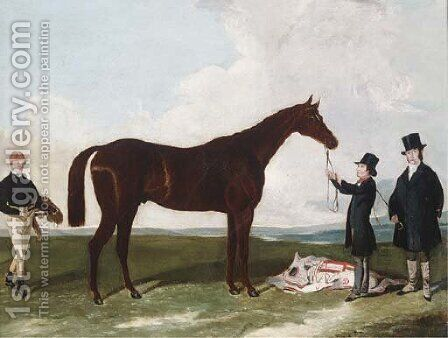 A racehorse held by a groom with the trainer and jockey by (after) Harry Hall - Reproduction Oil Painting
