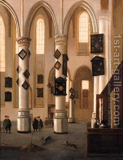 A view in the Oude Kerk, Delft, looking east from the Northern aisle, with townsfolk near an open grave by (after) Hendrick Van Vliet - Reproduction Oil Painting