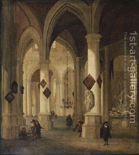 The interior of the Oude Kerk, Delft, with peasants and elegant townsfolk near the funerary monument of Admiral Maerten Harpertsz. Tromp by (after) Hendrick Van Vliet - Reproduction Oil Painting