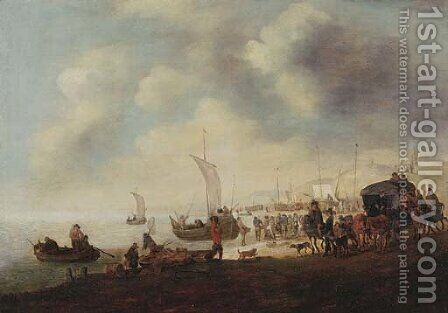 Fishermen and townsfolk on the beach at Scheveningen by (after) Hendrick De Meijer - Reproduction Oil Painting