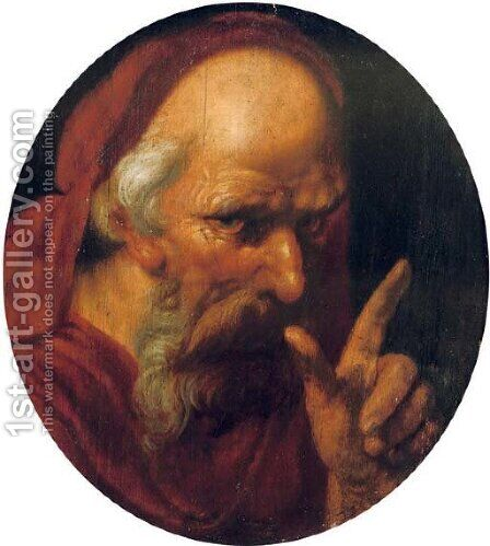 A 'tronie' of a bearded old man, possibly Saint Jerome by (after) Hendrick Goltzius - Reproduction Oil Painting
