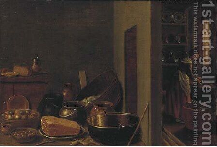 A kitchen interior with utensils in the foreground by (after) Hendrick Maertensz. Sorch (see Sorgh) - Reproduction Oil Painting