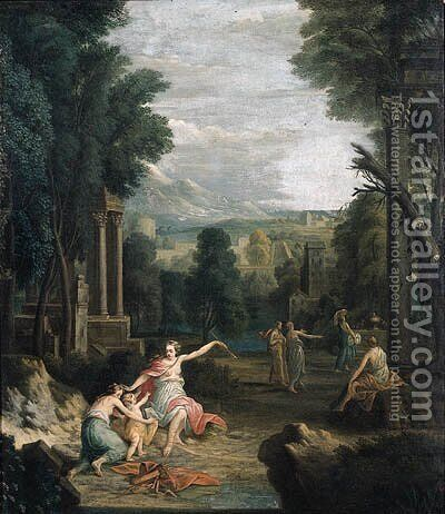 Diana punishing Cupid, in a landscape by (after) Hendrik Frans Van Lint (Studio Lo) - Reproduction Oil Painting