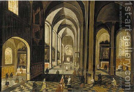 The interior of a gothic church, looking east by (after) Hendrick Van, The Younger Steenwyck - Reproduction Oil Painting