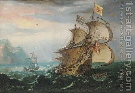 A Dutch man-o'-war and other shipping in choppy seas by (after) Hendrik Cornelisz. Vroom - Reproduction Oil Painting