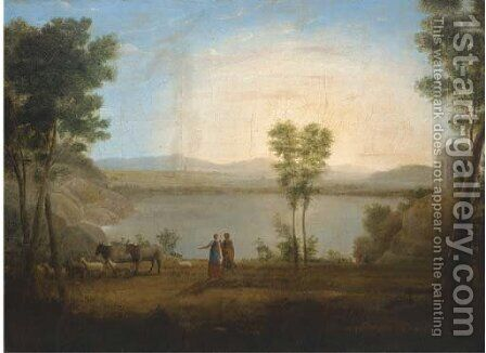 A classical landscape with a shepherd and shepherdess by a lake by (after) Hendrik Frans Van Lint (Studio Lo) - Reproduction Oil Painting
