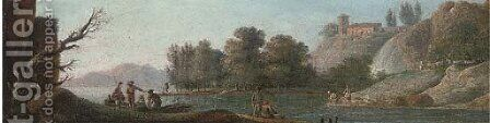 A river landscape with fishermen and washerwomen by (after) Hendrik Frans Van Lint (Studio Lo) - Reproduction Oil Painting