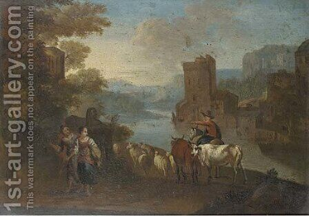 An Italianate river landscape with shepherdesses and a herdsmen, a town beyond by (after) Hendrik Frans Van Lint (Studio Lo) - Reproduction Oil Painting