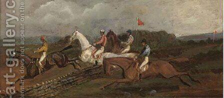 Steeplechasing; and Over the ditch by (after) Henry Alken - Reproduction Oil Painting