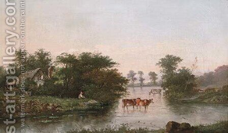 A herder watering cattle by a riverside cottage by (after) Henry John Boddington - Reproduction Oil Painting