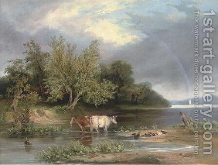 Cattle watering in a wooded landscape by (after) Henry John Boddington - Reproduction Oil Painting