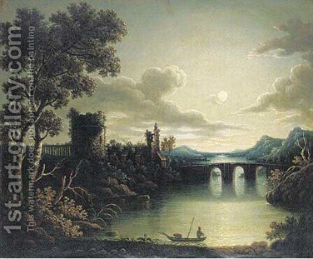 A moonlit watch tower by a river by (after) Henry Pether - Reproduction Oil Painting