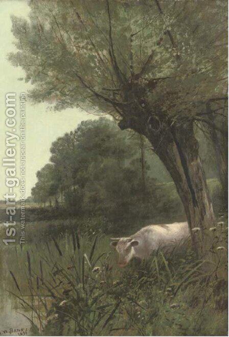 A cow watering at a wooded pool by (after) Henry William Banks Davis - Reproduction Oil Painting