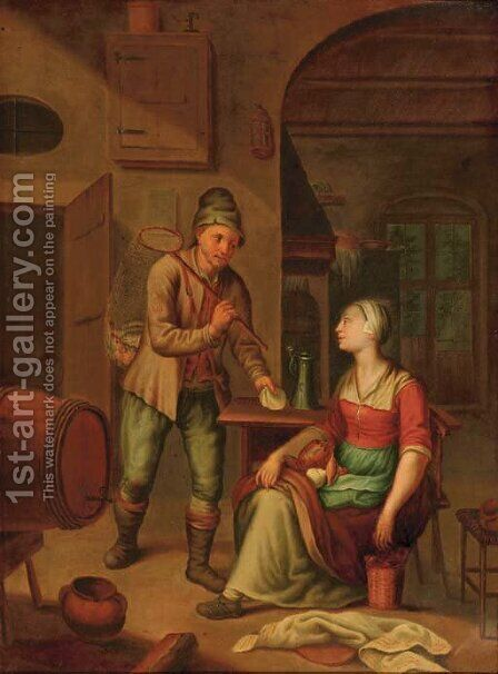A fisherman presenting a shell to a maid by (after) Heroman Van Der Mijn - Reproduction Oil Painting