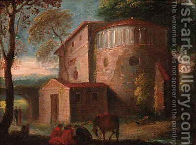 Travellers resting before a church in an Italianate landscape by (after) Herman Van Swanevelt - Reproduction Oil Painting