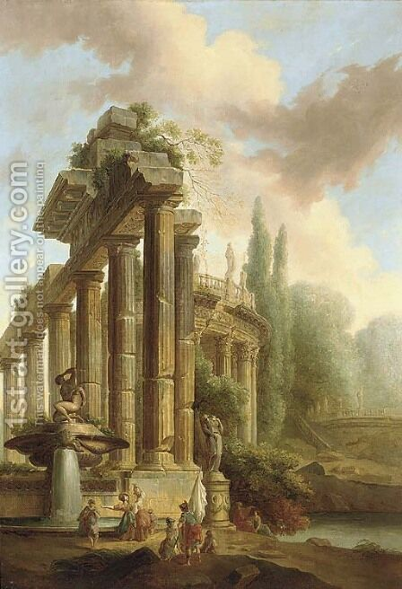 An architectural capriccio of classical ruins in a garden with figures by a fountain by (after) Hubert Robert - Reproduction Oil Painting