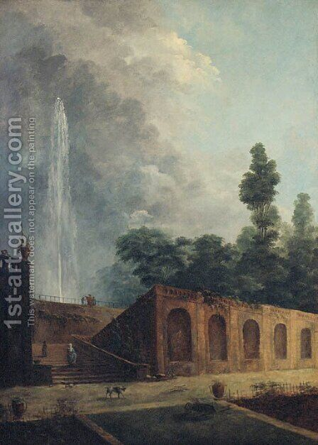 Figures in a terraced garden by a fountain by (after) Hubert Robert - Reproduction Oil Painting