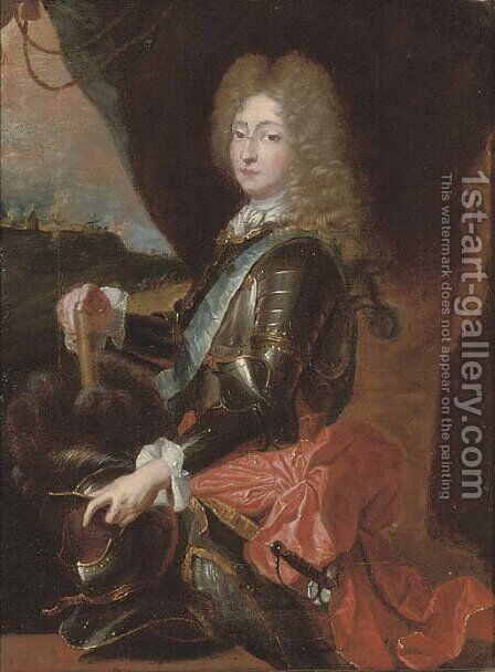 Portrait of a gentleman, traditionally identified as Prince Eugene of Savoy (1663-1736) by (after) Hyacinthe Rigaud - Reproduction Oil Painting