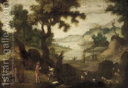 A landscape with monks, travellers, a fruit seller and a shepherd and his flock by (after) Ignacio De Iriarte - Reproduction Oil Painting