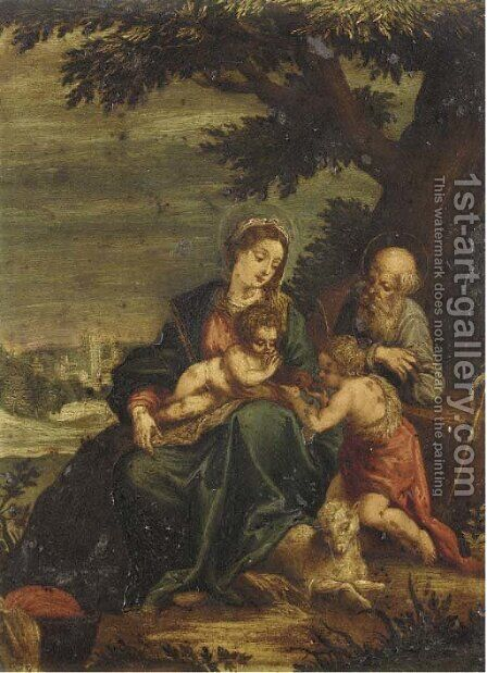 The Holy Family with the Infant Saint John the Baptist by (after) Ippolito Scarsella (see Scarsellino) - Reproduction Oil Painting
