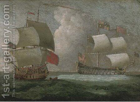 A Royal Yacht and a Royal Naval two-decker in close quarters by (after) Isaac Sailmaker - Reproduction Oil Painting