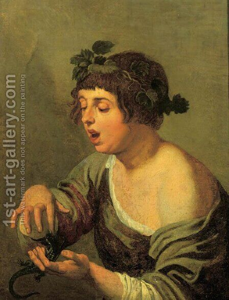A young bacchante, holding a lizard by (after) Jacob Adriaensz. Backer - Reproduction Oil Painting