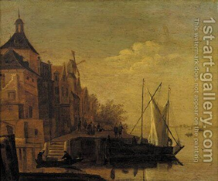 A town by a river with sailing vessels moored at a quay, at dusk by (after) Jacob Adriaensz. Bellevois - Reproduction Oil Painting
