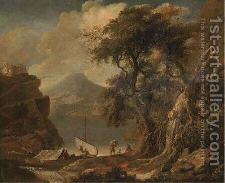 A mountainous river landscape with figures and boats in a wooded inlet by (after) Jacob De Heusch - Reproduction Oil Painting