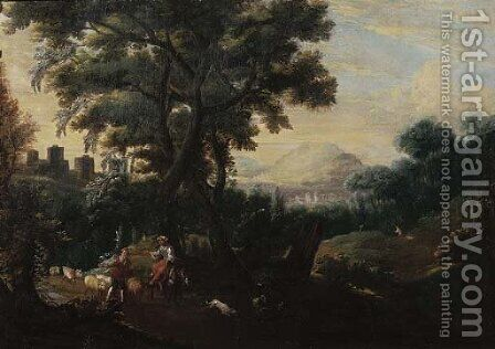 An Italianate landscape with a shepherd couple leading their flock down a path by (after) Jacob De Heusch - Reproduction Oil Painting